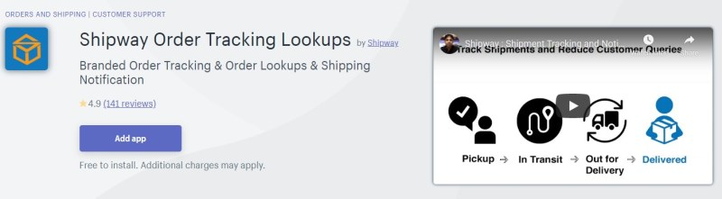 Shipway Shopify order tracking app
