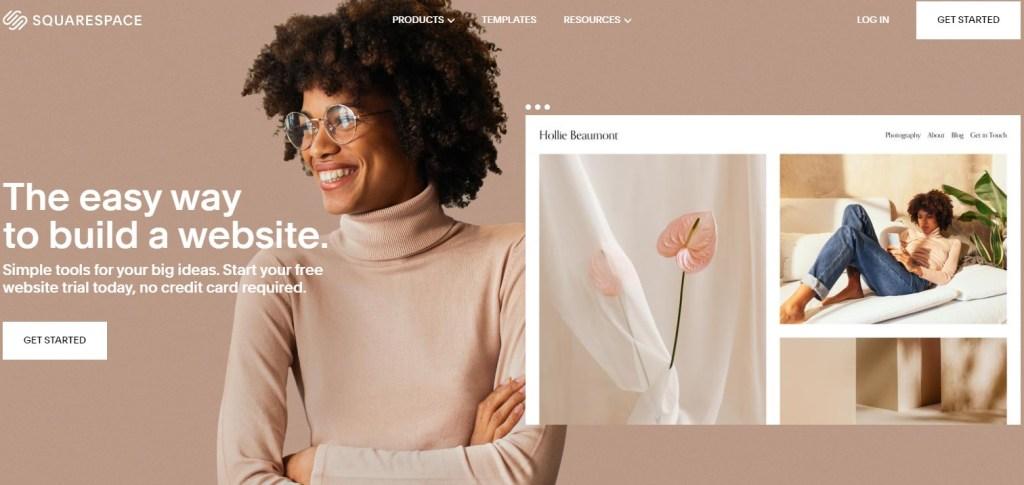 Squarespace blogging platform homepage