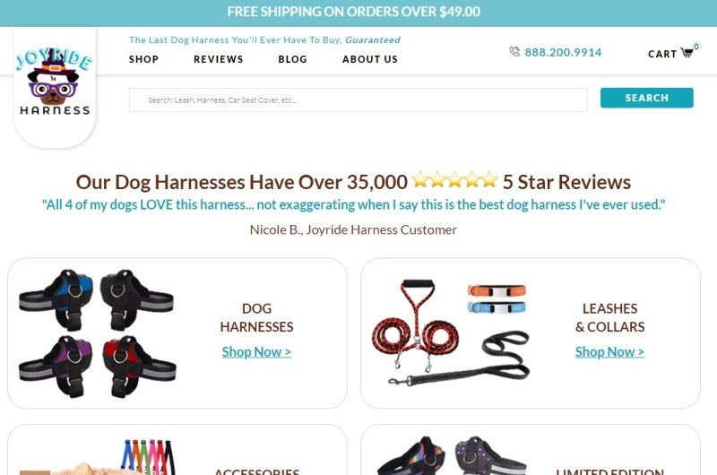JoyRideHarness dropshipping store homepage