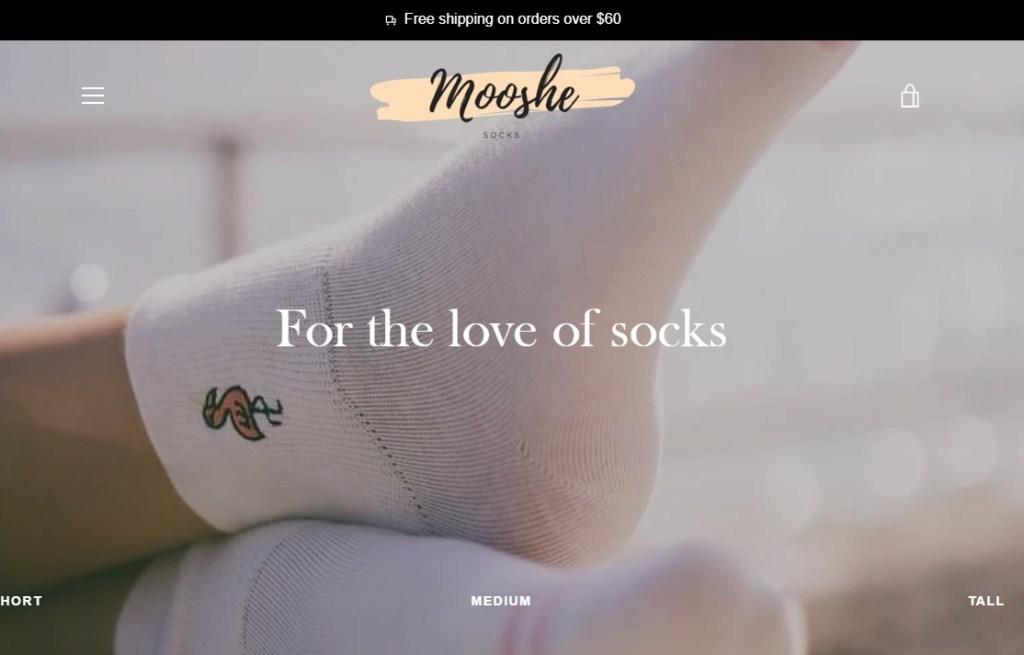 ShopMoosheSocks dropshipping store homepage