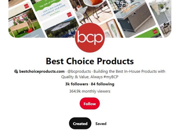 BestChoiceProducts Pinterest profile
