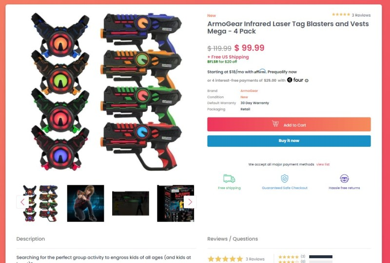 DailyDeals product page design