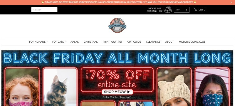 MeoWingTons dropshipping store homepage