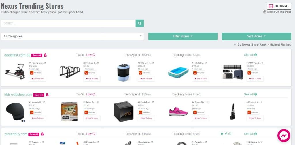 Nexus trending stores