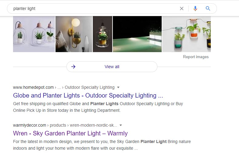 """WarmlyDecor in search results for """"planter light"""""""