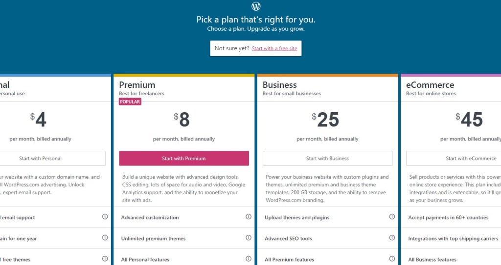 Pick a plan in WordPress.com