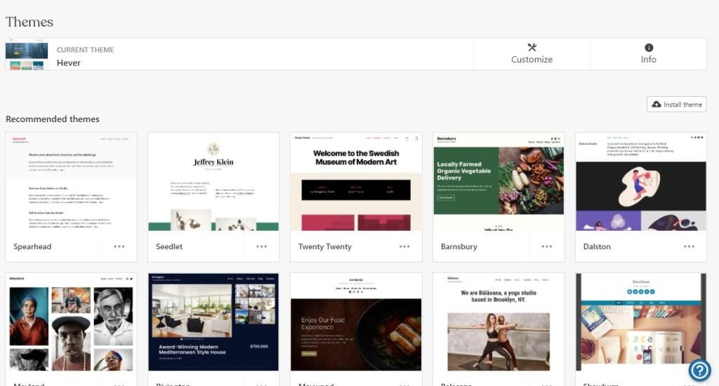 WordPress.com themes tab