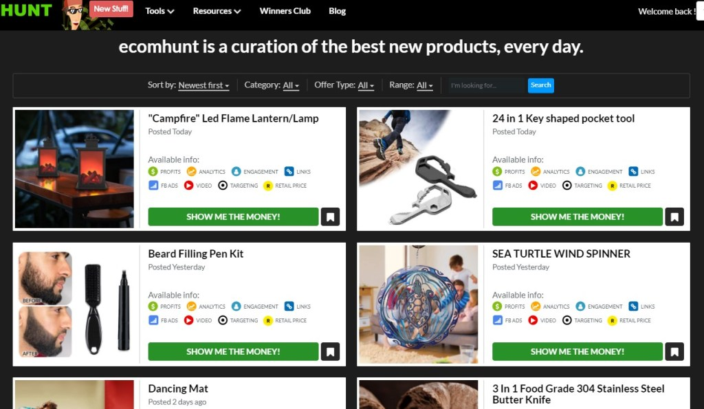 Ecomhunt free tool of daily hand-picked dropshipping products