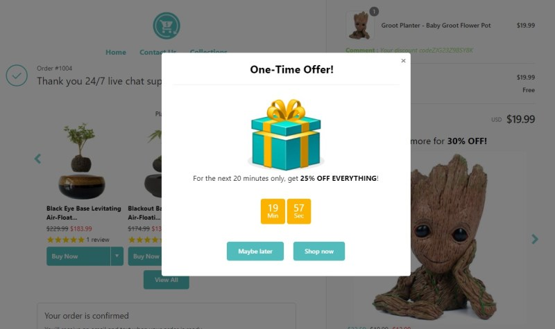 Reconvert Shopify cross-selling and up-selling app for dropshipping