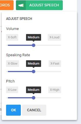 Speechelo volume, speed, and pitch customization