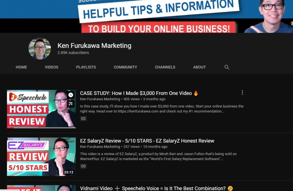 Affiliate marketing YouTube channel example