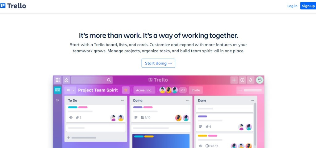 Trello for managing work and team