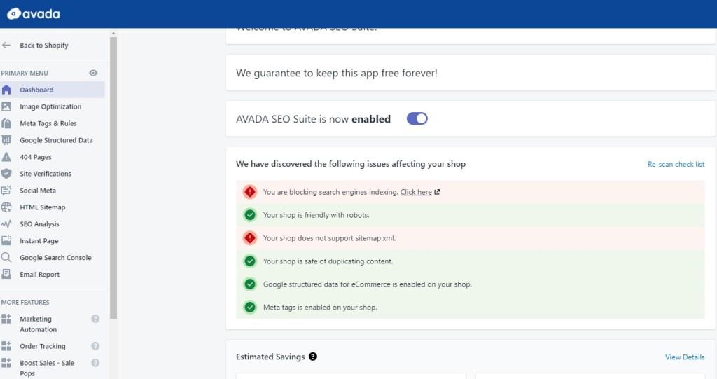 AVADA SEO Suite shopify app
