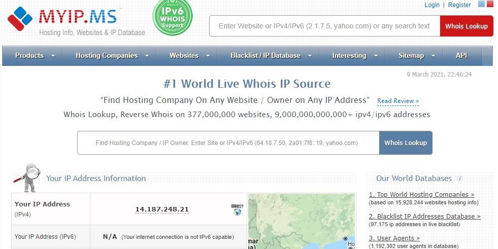 Myip.ms homepage