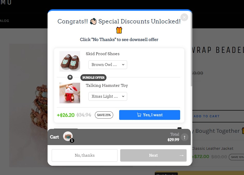 Add-to-cart button upselling example