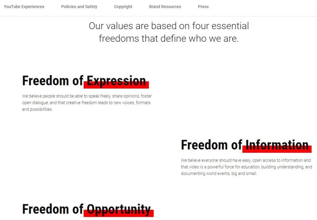 Youtube brand core values