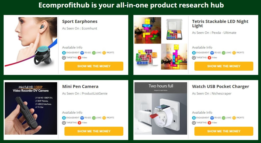 Ecomprofithub dropshipping product research tool