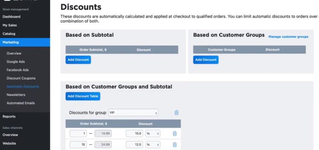 Ecwid automatic discounts
