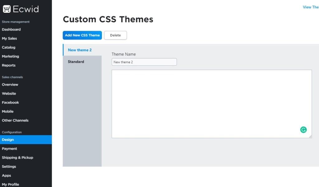 Ecwid CSS code panel