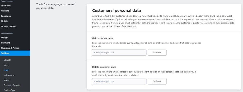Ecwid customer data management tool