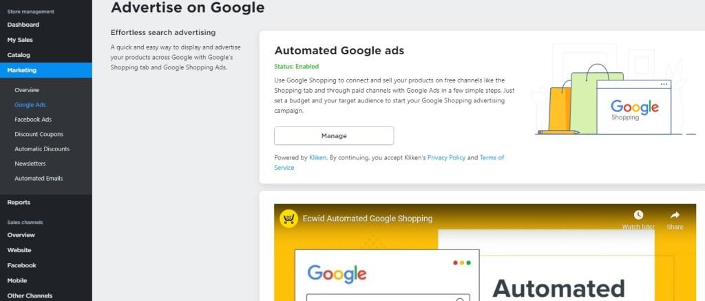 Ecwid Google Ads