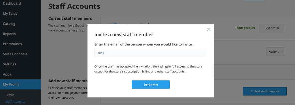 Ecwid staff accounts