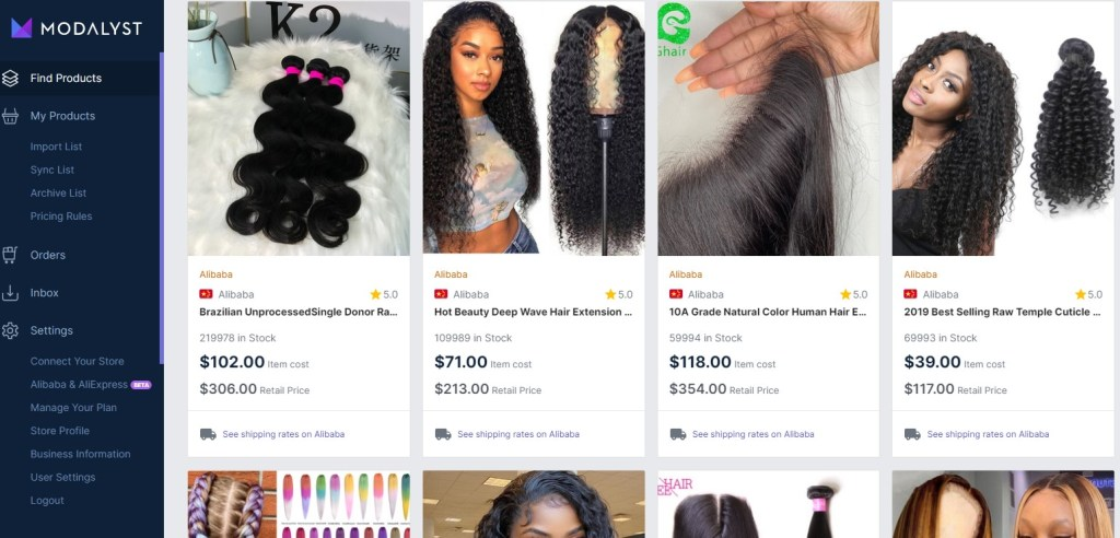 Hair extensions dropshipping products on Modalyst