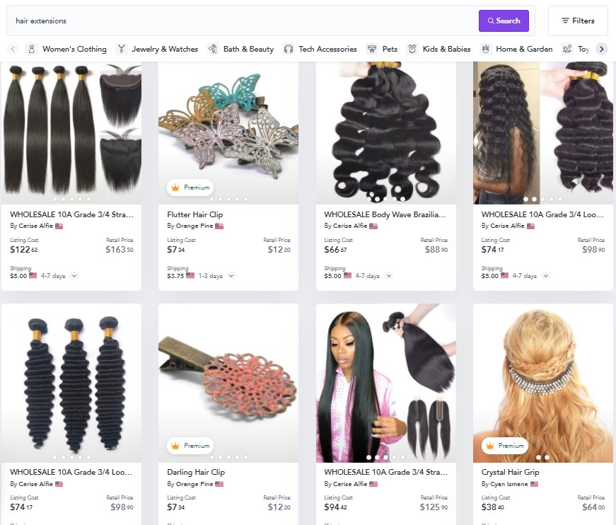 Hair extensions dropshipping products on Spocket
