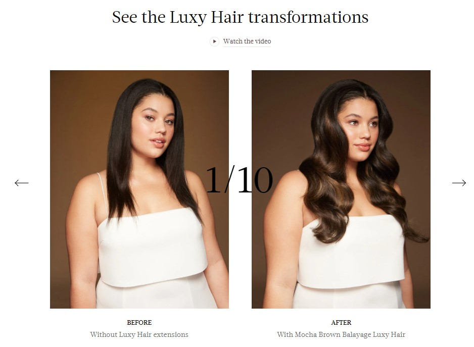 Product images in the hair extension dropshipping niche