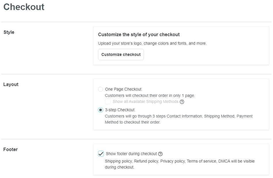 ShopBase checkout settings