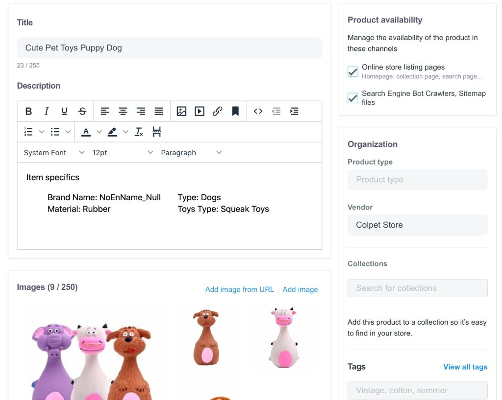 ShopBase product settings