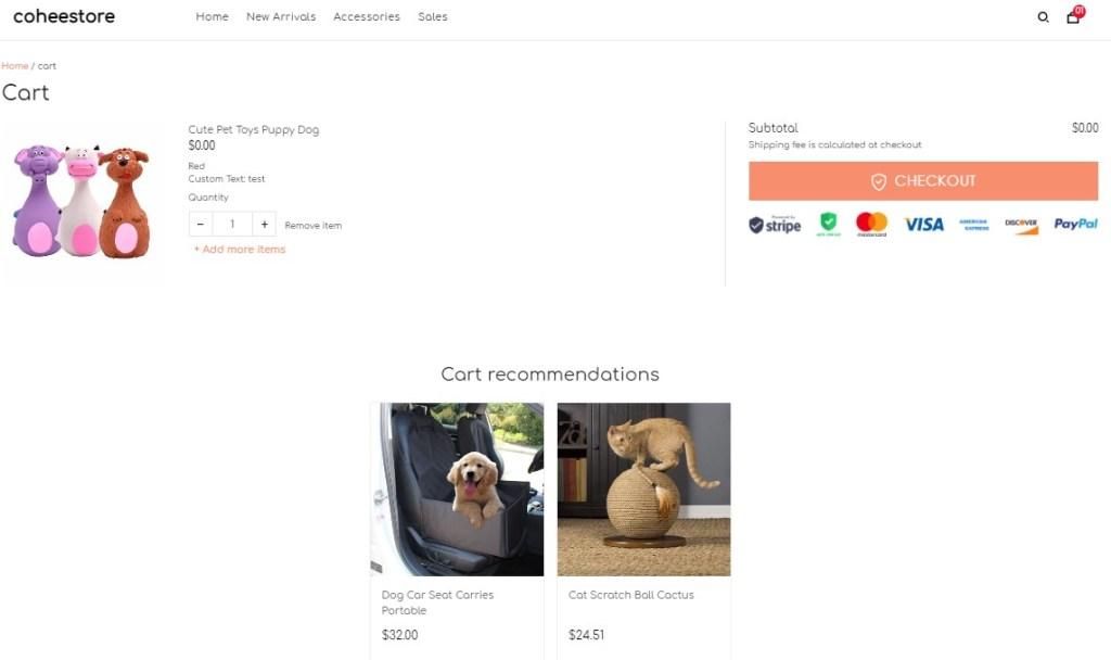ShopBase store cart page