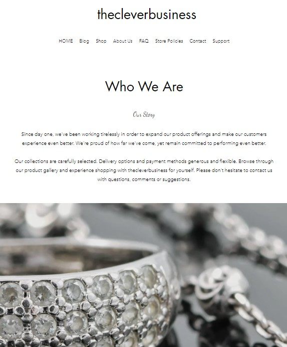 Wix about-us page design