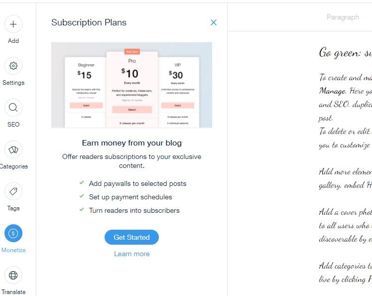 Wix blog monetization