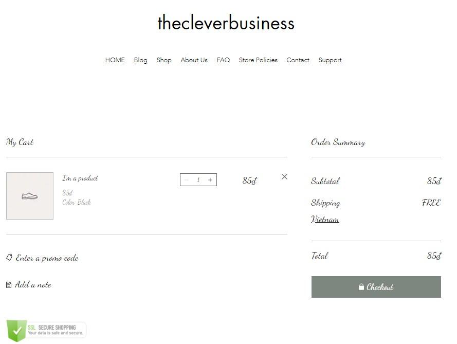 Wix cart page design