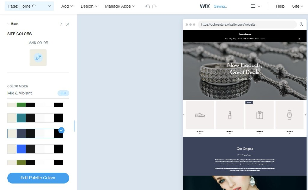 Changing your site color inside the Wix ADI editor