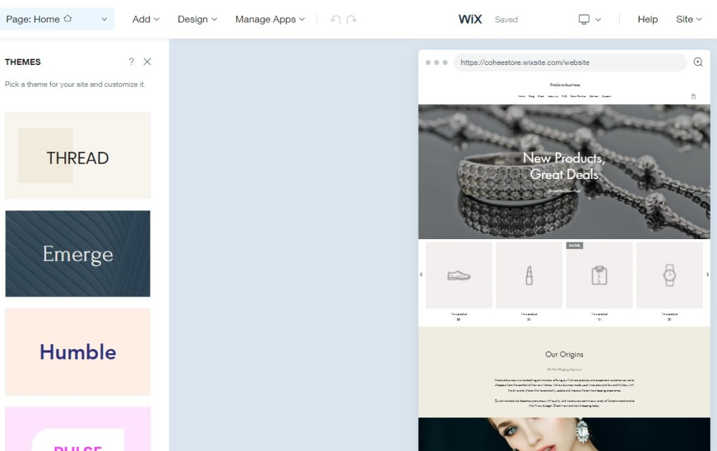 Change your Wix themes inside the ADI editor