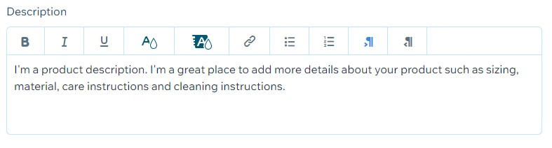Wix product description editor