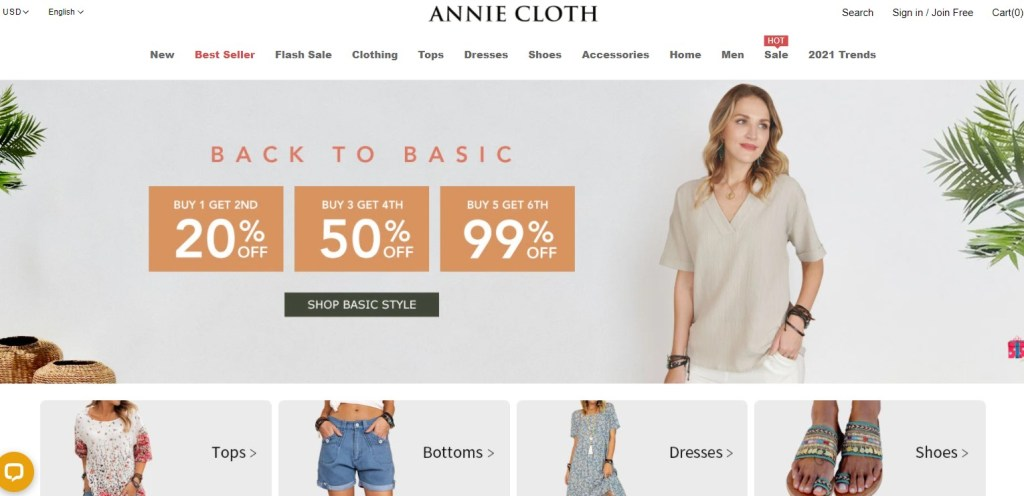 Annie Cloth clothing dropshipping store