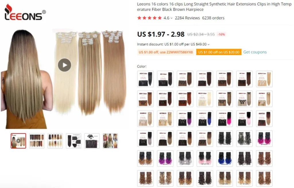 Clip-in hair extensions dropshipping product example