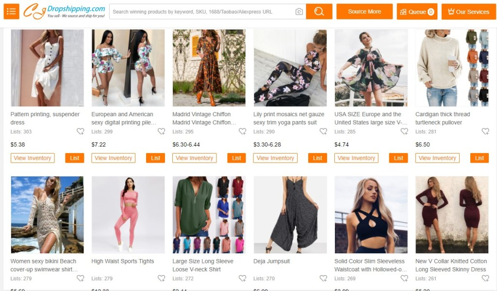 Clothing dropshipping products on CJDropshipping
