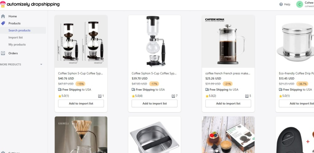 Coffee dropshipping products on Automizely