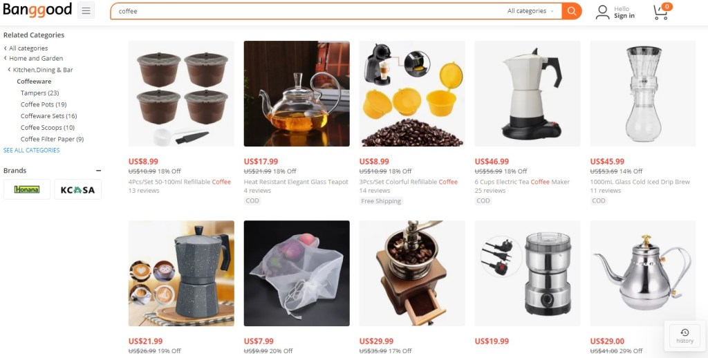 Coffee dropshipping products on Banggood