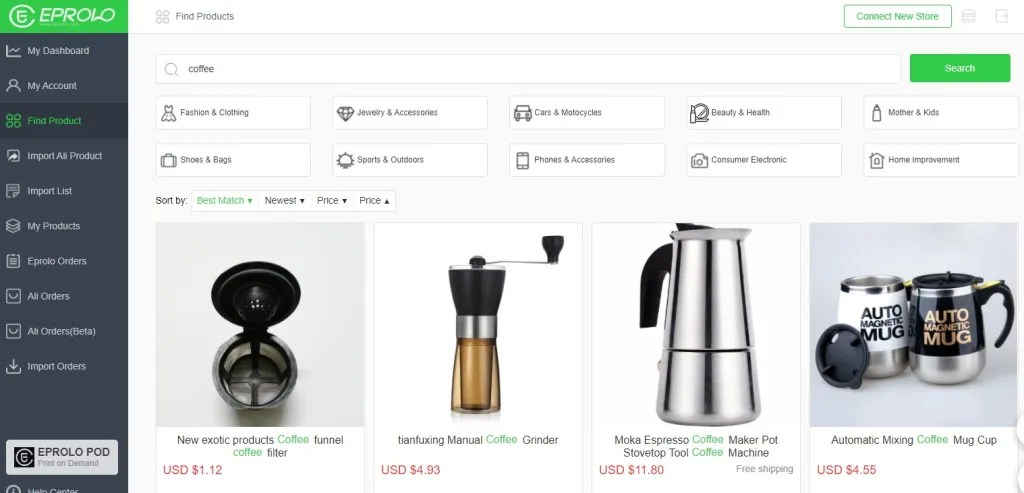 Coffee dropshipping products on EPROLO