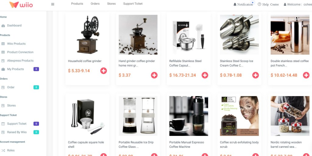 Coffee dropshipping products on Wiio