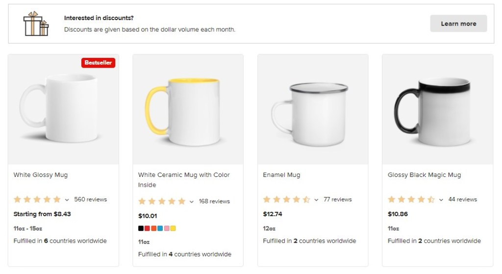 Coffee dropshipping products on Printful