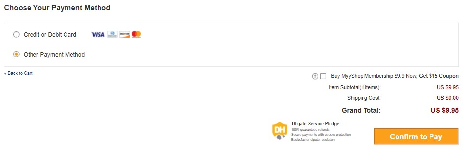 Confirm payment for your DHgate dropshipping order