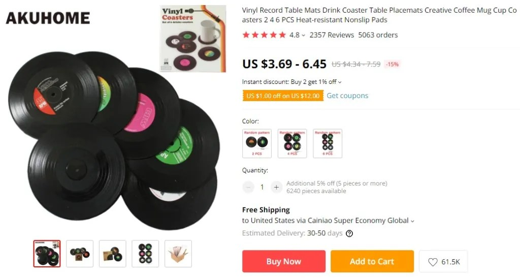 Coffee coaster dropshipping product example