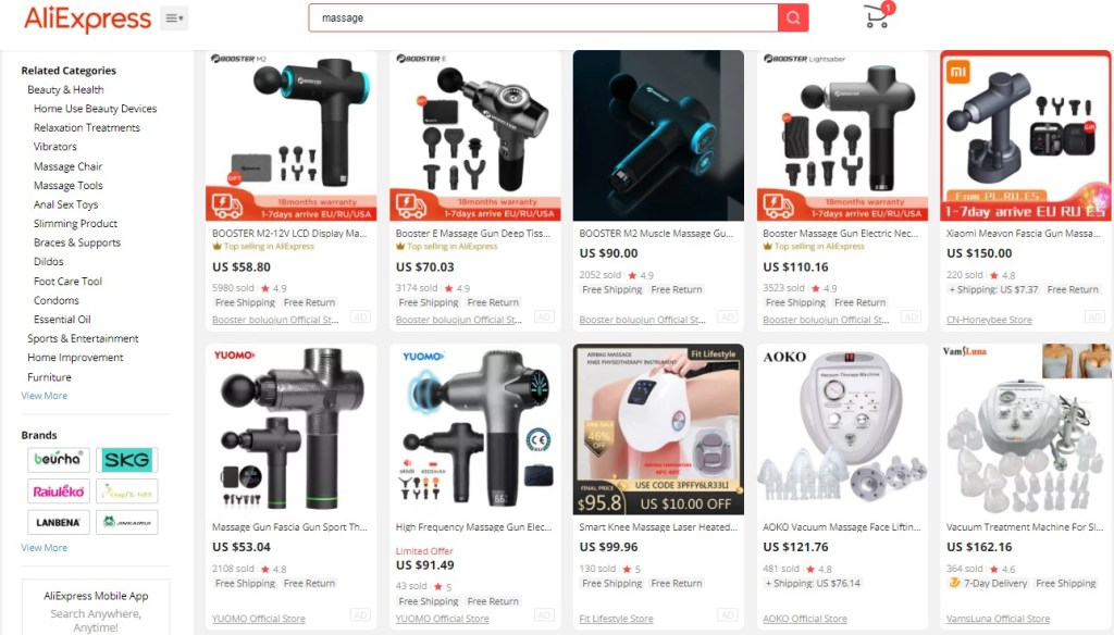 Example high-ticket dropshipping products in the massage equipment niche