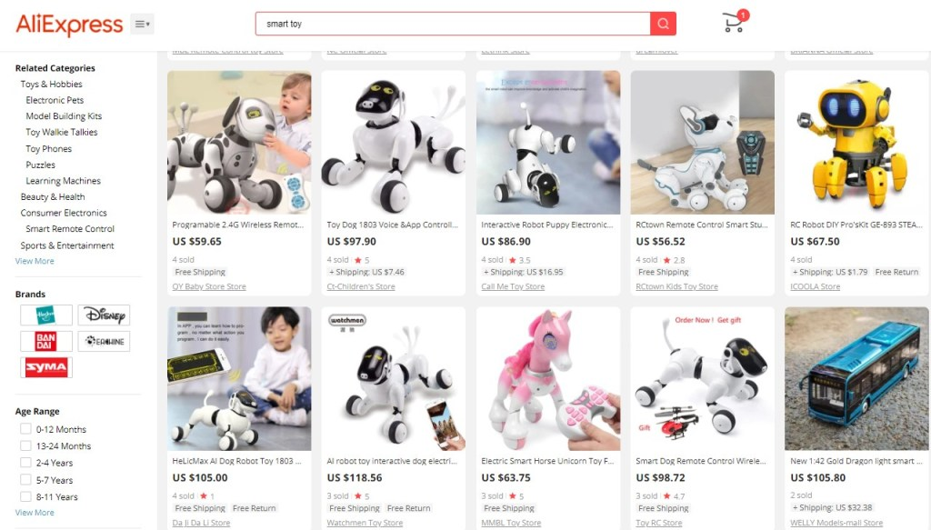 Example high-ticket dropshipping products in the smart, electronic & creative toy niche